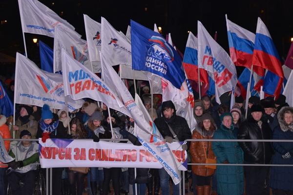 День выборов президента России завершился в Курске митингом-концертом