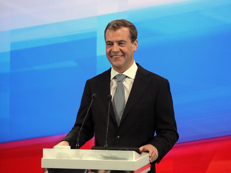 Спасибо партии 'Единая Россия' за высокие тарифы на электроэнергию и теплоснабжение! На фото-председатель партии - Дмитрий Медведев. Фото из официального сайта партии 'Единая Россия'.